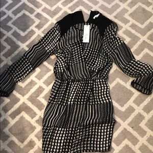 Parker black and white checkered dress
